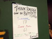 "WRAL Out and About took on ""Trapped in a Room with a Zombie"" at Raleigh Room Escapes."