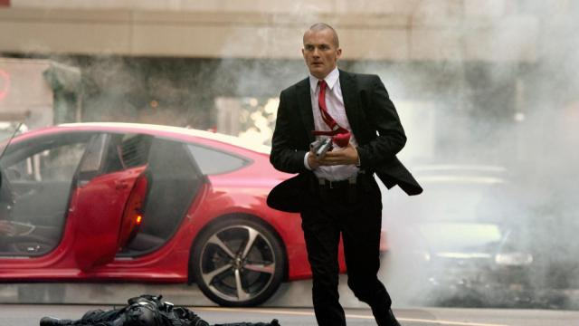 "This photo released by Twentieth Century Fox shows Rupert Friend, left, as Agent 47, in a scene from the film, ""Hitman: Agent 47,"" in Singapore. (AP Photo/Twentieth Century Fox, Reiner Bajo)"