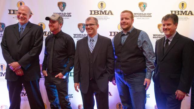 Picture on the IBMA Red Carpet are the Lonesome River Band, Oct. 1, 2015.