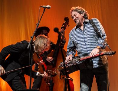 Jerry Douglas performs with Steep Canyon Rangers in Ballroom A-B, which served as the backup location for Red Hat Amphitheater due to the inclement weather, Oct. 2, 2015.