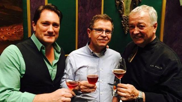 Rudi Ghequire of Rodenbach Brewery (center) visited Sam's Bottle Shop in Durham Oct. 4, 2015.