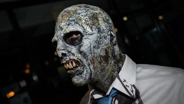 Nick Fontenot, Raleigh, takes part in his third Raleigh Zombie Walk on Oct. 24, 2015, which benefits the American Red Cross, Triangle Area Chapter. ( JOHN WEST/WRAL contributor)