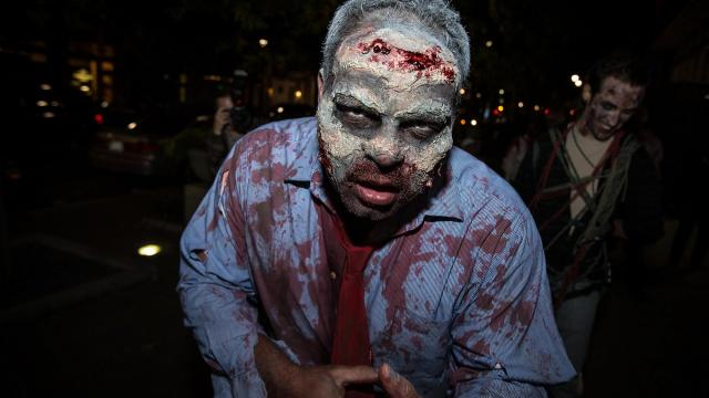Nick Fontenof, Raleigh, takes part in his third Raleigh Zombie Walk on Oct. 24, 2015, which benefits the American Red Cross, Triangle Area Chapter. ( JOHN WEST/WRAL contributor)