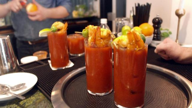 Bloody Marys come topped with curry shrimp at disco brunch at The Durham.