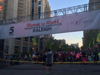 Runners line up for the start of the 2016 Rock 'n' Roll Marathon in downtown Raleigh.