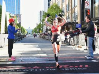 Molly Nunn was the first woman to finish the Rock 'n' Roll Half Marathon in Raleigh April 10. 2016.