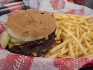 A Freddy's steakburger and fries.