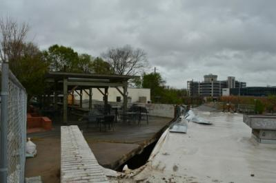 That split is where the wall collapsed at Boylan Bridge Brewpub. (James Borden)