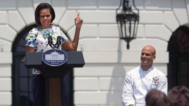 Sam Kass, former assistant White House chef, with Michelle Obama. (Image courtesy of The White House)