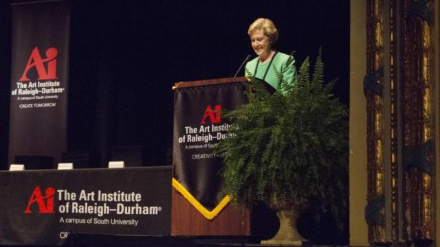 Graduates of the Art Institute of Raleigh-Durham heard from N.C. Department of Natural and Cultural Resources Secretary Susan Kluttz Thursday about the crucial role the arts play in economic development.
