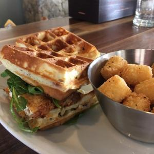 Parkside restaurant's chicken and waffle sandwich (Facebook)