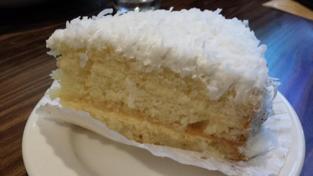 Coconut cake at La Madeleine County French Cafe