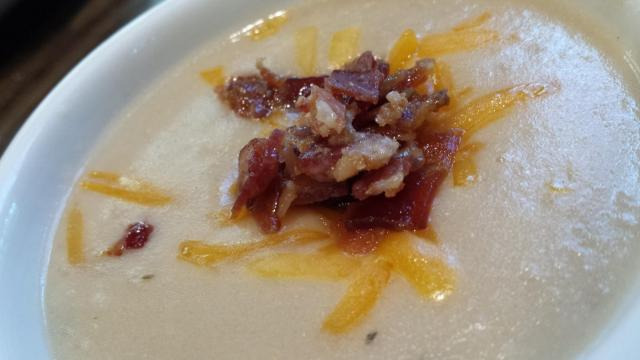 Potato soup at La Madeleine County French Cafe