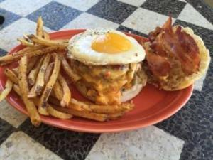 Only Burger's entry in the Thomas Breakfast Battle is a burger topped with fried egg, fried green tomato, bacon and pimento cheese on an English muffin.
