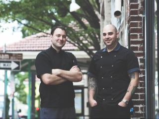 Chefs Jeff Seizer and Jesse Bardyn are partners in the upcoming restaurant Royale in City Market. (Photo by Felicia Trujillo)