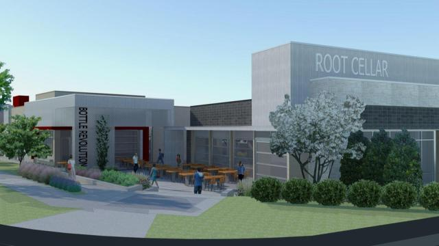 An artist rendering of the upcoming Root Cellar Cafe and Catering location in Pittsboro.