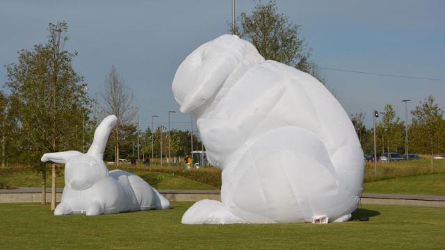 Giant bunny exhibit opens in Raleigh