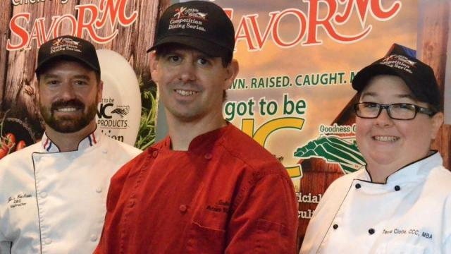Dream Team Radical Range Riders led by team captain Adam Reed (middle) , owner and chef at Sante' of Matthews; Terra Ciotta, culinary instructor and chef at Artisan Restaurant in Charlotte; and Chef Jess Cochran, culinary instructor at Central Piedmont Community College. (Competition Dining)