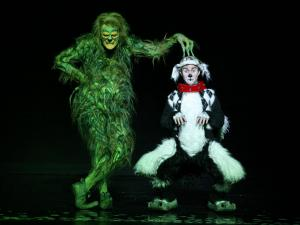"Stefan Karl as The Grinch with Seth Bazacas as Young Max in ""Dr. Seuss' How the Grinch Stole Christmas! The Musical.""   (Photo by: PAPARAZZIBYAPPOINTMENT.COM)"