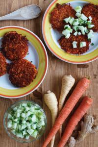 Carrot Latkes with Ginger and Spicy Apple Salsa