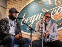Talib Kweli and Dr. Mark Anthony Neal at Beyu Caffe (Allison Mathews Photography)
