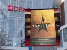 'Hamilton' banner outside DPAC