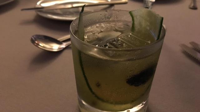 Ginger and cucumber infused TOPO vodka fizz