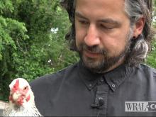 Justin Miller and his chicken
