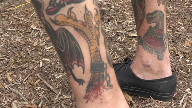 Justin Miller's chicken foot tattoo