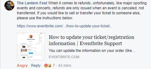 The Lantern Fest responses on Facebook
