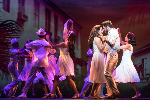 Christie Prades as Gloria Estefan, Mauricio Martinez as Emilio Estefan and Company, ON YOUR FEET! © Matthew Murphy