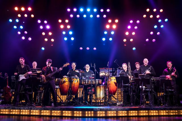 ON YOUR FEET! Band featuring members of the Miami Sound Machine: Clay Ostwald (Music Director/Keyboard), Jorge Casas (bass), Edward Bonilla (percussion) and Theodore Mulet (trombone), © Matthew Murphy