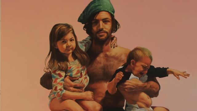 Scott Avett, Fatherhood, 2013 oil on canvas, 106 x 65 in., Courtesy of the artist, © 2019 Scott Avett; Photograph: Lydia Bittner-Baird