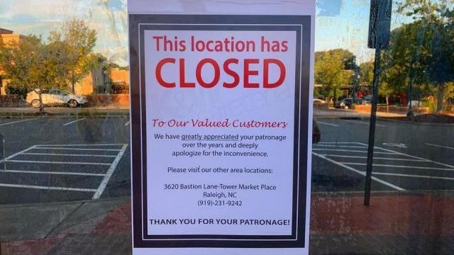 Cameron Village K&W Cafeteria has closed, according to a sign posted on their door.