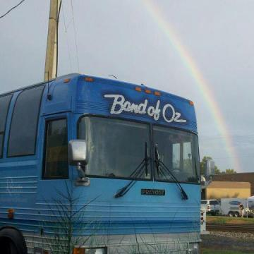 Somewhere over the rainbow -- the Band of Oz bus is taking the group on tour.