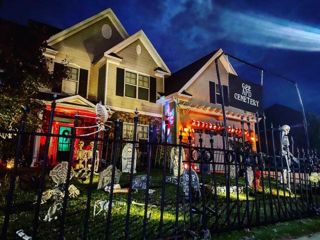 Halloween displays in the Triangle.