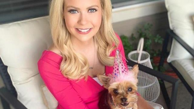 WRAL meteorologist Kat Campbell and her dog, Jazzy (Instagram)