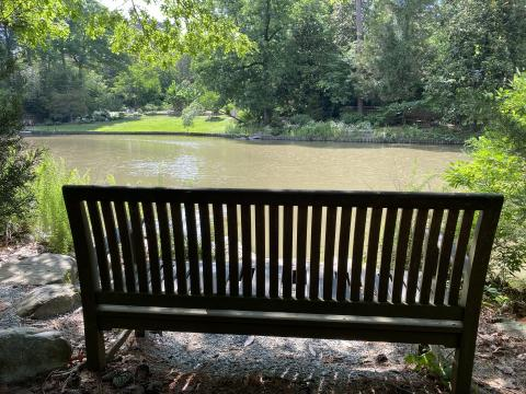 There are plenty of places to stop and relax at Duke Gardens.