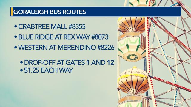 GoRaleigh autobus  routes for N.C. State Fair
