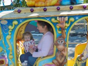 Alexis Powell, 1, enjoys her first trip to the North Carolina State Fair. Alexis and her mother, Kim, rode this children's train on Oct. 29, 2009.