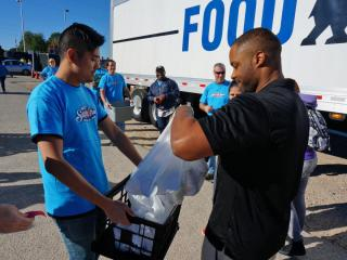 Fairgoers donated thousands of cans of food Thursday, Oct. 23, 2014, at the annual Hunger Relief Day at the N.C. State Fair.