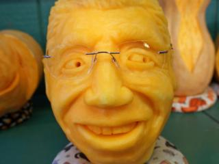 """Davie County resident Tim Trudgeon has been carving pumpkins for 30 years, and on Friday morning he used his expertise to create the """"O'Fishel""""pumpkin at the N.C. State Fair."""
