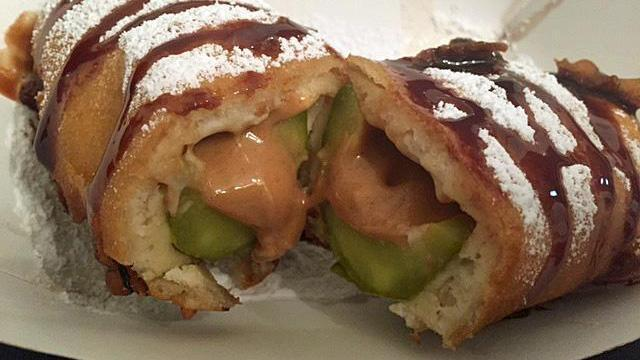 Deep-fried pickle with peanut butter