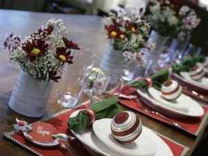 Holiday table settings provided by Crate and Barrel are seen Monday, Nov. 24, 2008 in Denver. Part of the joy in sitting down to a holiday dinner involves the extras _ the special plates, the cloth napkins _ that signal a special meal. (AP Photo/Jack Dempsey)