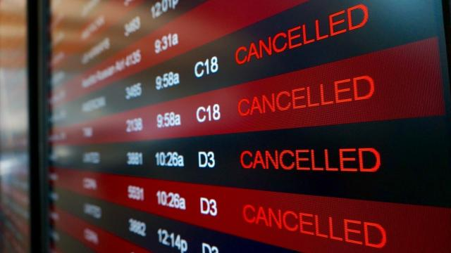 Airlines canceled thousands of flights into and out of East Coast airports, including Raleigh-Durham International Airport on Monday, Jan. 26, 2015, as a major snowstorm packing up to 3 feet of snow barrels down on the northeast region.