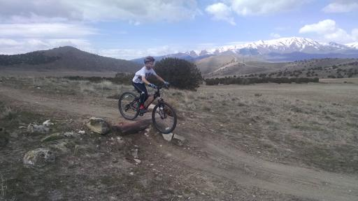 Anderson enjoys a day off with his mom as he mountain bikes in the nearby foothills. (Deseret Photo)