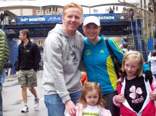 Christian, Kimberly, Ali and Kaitlynne Cowart at the 2010 Boston Marathon Finish Line. (Deseret Photo)