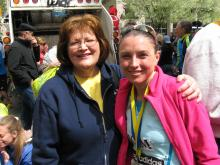 Kim Cowart with her mom, Debbie Hammond, after her first Boston Marathon. (Deseret Photo)