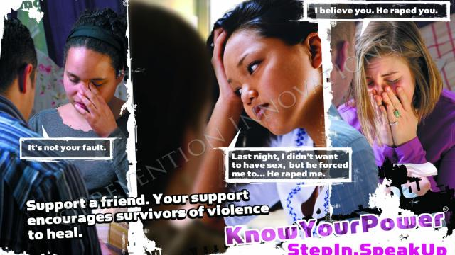 Researchers at the University of New Hampshire created the Know Your Power Bystander Social Marketing Campaign, which aims to reduce sexual assault, relationship violence and stalking on college campuses by showing that everyone in the community has a role to play in speaking up against this violence.