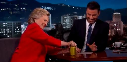 On his late-night TV show Monday, Jimmy Kimmel asked Hillary Clinton to open a jar of pickles. She did, and it was more than a stunt but a legitimate test of health you can try at home. (Deseret Photo)